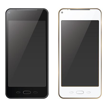 New realistic mobile phone smartphone black and white mock up template Ilustração