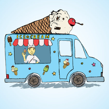 Hand drawn sketch Ice Cream Truck, Colorfiled and Playful with yang man seller and Ice Cream cone on top. Vector