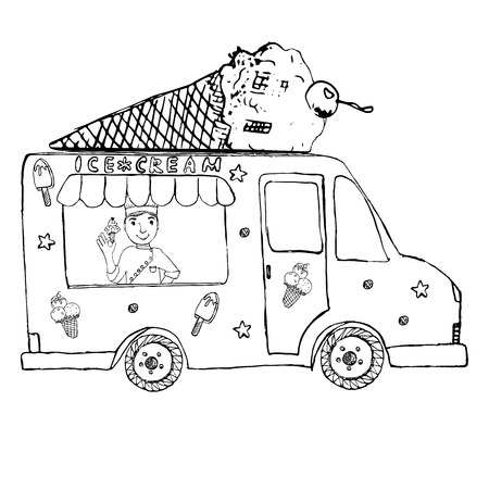 Hand drawn sketch Ice Cream Truck, with yang man seller and Ice Cream cone on top, isolated. Vector