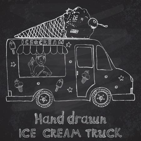 aliments droles: Hand drawn esquisse Ice Cream Truck avec Yang homme vendeur et cornet de cr�me glac�e sur le dessus, sur le tableau noir. Illustration