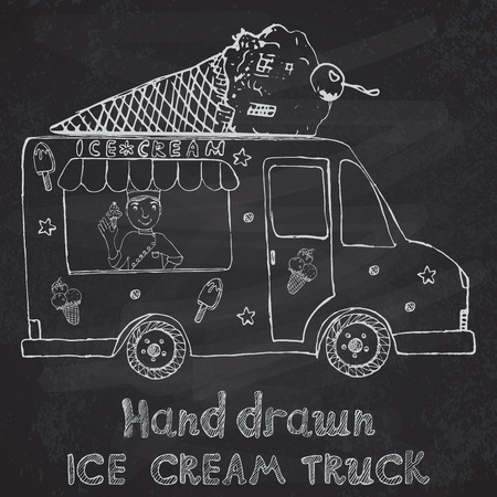 Hand drawn sketch Ice Cream Truck with yang man seller and Ice Cream cone on top, on chalkboard. Vector