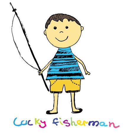 recreational fishermen: Cute fisherman Boy Sketch Doodle Vector Art Illustration colored.
