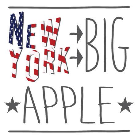 big apple: New York Big apple typography poster, t-shirt Printing design, vector Badge Applique Label. Illustration