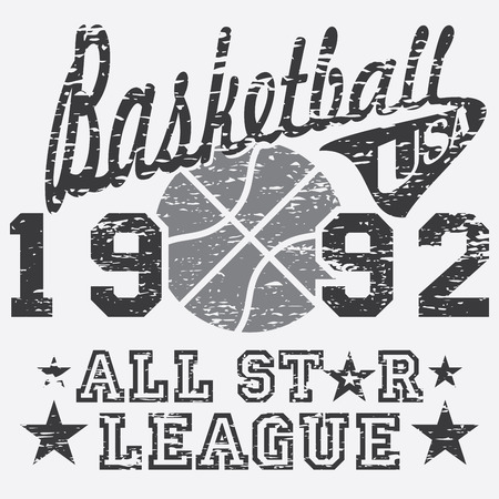 Basketball all star league artwork, typography poster, t-shirt Printing design, vector Badge Applique Label .
