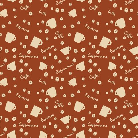 bens: Coffee cups and names with bens, Seamless background pattern.