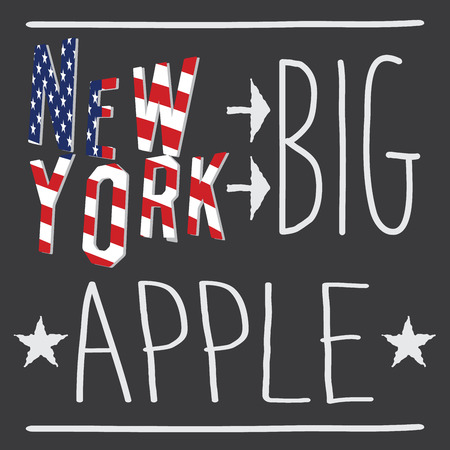 New York Big apple typography poster, t-shirt Printing design, vector Badge Applique Label. Ilustração