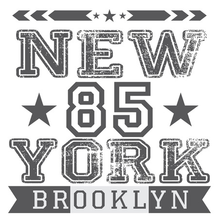 New York City retro vintage typography poster, t-shirt Printing design, vector Badge Applique Label.  イラスト・ベクター素材
