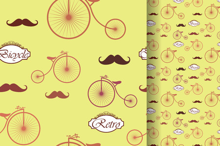 Retro bicycle and moustache, seamless pattern, vintage elements background.