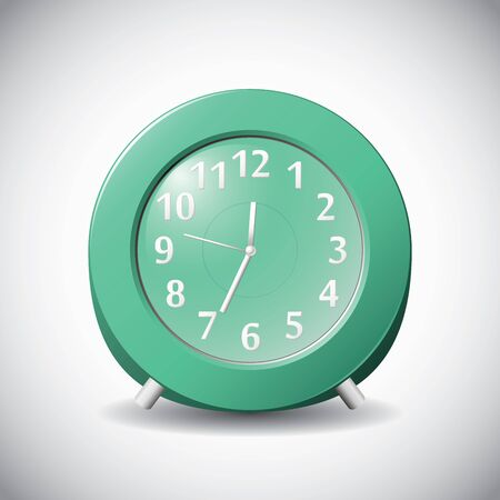 12 hour: Green realistic 12 hour analog clock on grey background.
