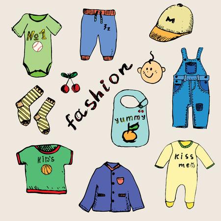 Abbigliamento per schizzo disegnato a mano bambino set, colorato e delineato. Vettoriali