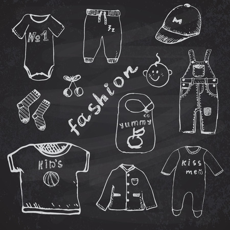 bodysuit: Clothes for baby boy set hand drawn sketch, on chalkboard background.