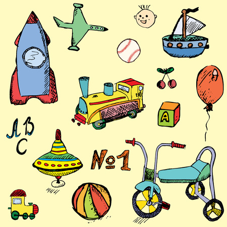 Baby, child toys set hand drawn sketch, colored and outlined. Vector