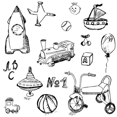 Baby, child toys set hand drawn sketch, isolated on white background. Vector
