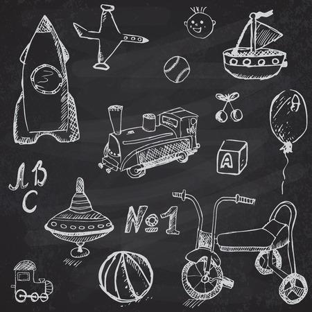 Baby, child toys set hand drawn sketch, on chalkboard background.