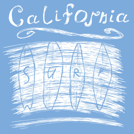 surfing: California surf typography, t-shirt Printing design graphics, vector poster, Badge Applique Label. Illustration