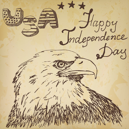 bald eagle: Hand drawn sketch American bald eagle text happy independence day.