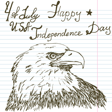 american bald eagle: Hand drawn sketch American bald eagle text happy independence day.