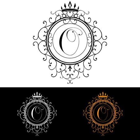 boutique hotel: Carta O. plantilla Logo Lujo florece caligr�ficas elegantes l�neas ornamento. R�tulo de establecimiento, la identidad de restaurante, Realeza, Boutique, Hotel, her�ldico, joyer�a, moda, ilustraci�n vectorial. Vectores
