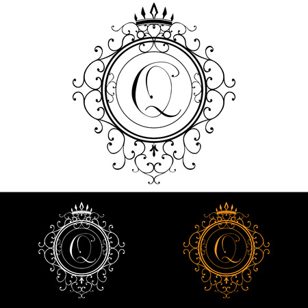 boutique hotel: Letter Q. Luxury Logo template flourishes calligraphic elegant ornament lines. Business sign, identity for Restaurant, Royalty, Boutique, Hotel, Heraldic, Jewelry, Fashion, vector illustration.