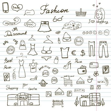 sketchbook: Fashion collection Sketchy Doodles set with Lettering, Hand-Drawn Vector Illustration Design Elements on Lined Sketchbook Paper Background.