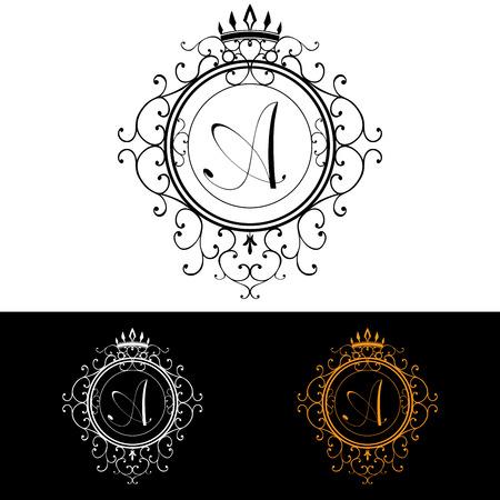 boutique hotel: Plantilla Carta A. Logo de lujo florece caligr�ficas elegantes l�neas ornamento. R�tulo de establecimiento, la identidad de restaurante, Realeza, Boutique, Hotel, her�ldico, joyer�a, moda, ilustraci�n vectorial.