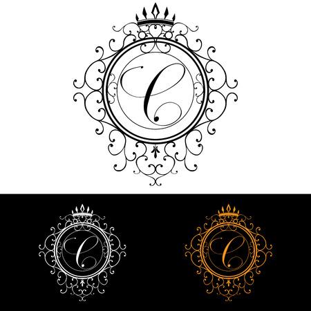 boutique hotel: Carta C. plantilla Logo Lujo florece caligráficas elegantes líneas ornamento. Rótulo de establecimiento, la identidad de restaurante, Realeza, Boutique, Hotel, heráldico, joyería, moda, ilustración vectorial.