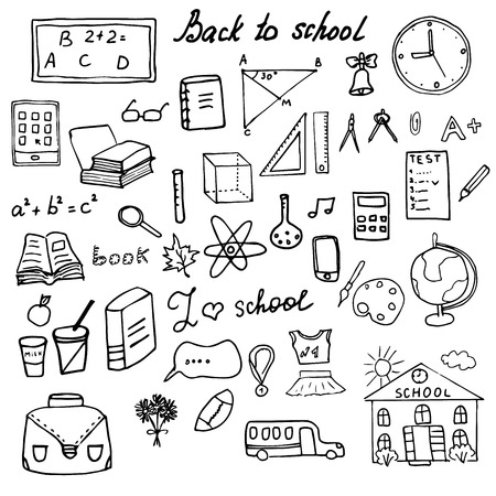 Back to School Supplies Sketchy Doodles set with Lettering, Hand Drawn Vector Illustration Design Elements isolated on white Background.