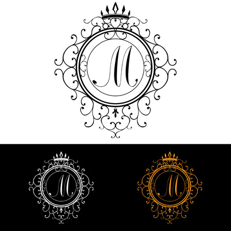 m hotel: Letter M. Luxury Logo template flourishes calligraphic elegant ornament lines. Business sign, identity for Restaurant, Royalty, Boutique, Hotel, Heraldic, Jewelry, Fashion, vector illustration.