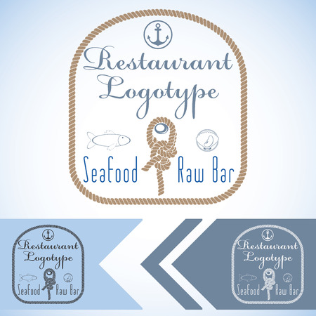 type bar: type mock up for seafood restaurant and raw bar. Vector graphic design. with fish and oyster and rope. Illustration