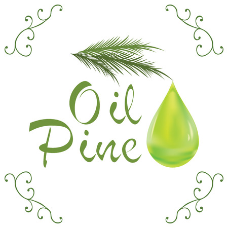 Oil drop, pine oil cosmetic falling from leef with decoration elements isolated on white background.