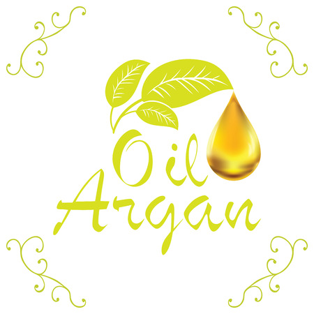 Oil drop, Argan oil cosmetic falling from leef with decoration elements isolated on white background.