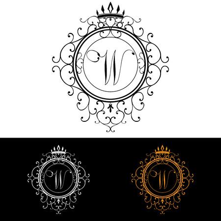 boutique hotel: Plantilla Carta W. Logo Lujo florece caligr�ficas elegantes l�neas ornamento. R�tulo de establecimiento, la identidad de restaurante, Realeza, Boutique, Hotel, her�ldico, joyer�a, moda, ilustraci�n vectorial.