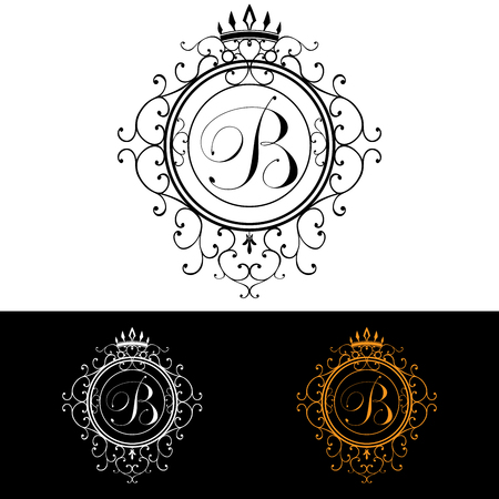boutique hotel: Letter B. Luxury Logo template flourishes calligraphic elegant ornament lines. Business sign, identity for Restaurant, Royalty, Boutique, Hotel, Heraldic, Jewelry, Fashion, vector illustration.