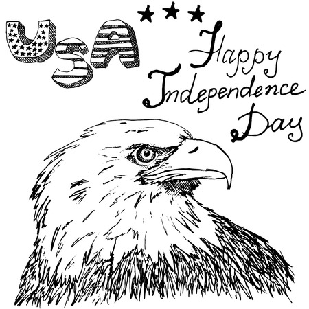 american bald eagle: Hand drawn sketch American bald eagle, text happy independence day. Illustration