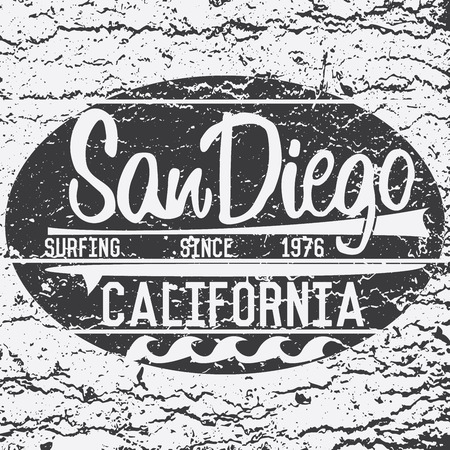 san diego: California San Diego typography, t-shirt Printing design, Summer vector Badge Applique Label.