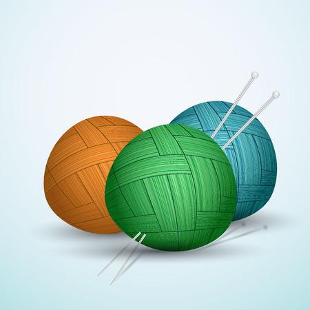 Knite balls of yarn on blue background vector illustration