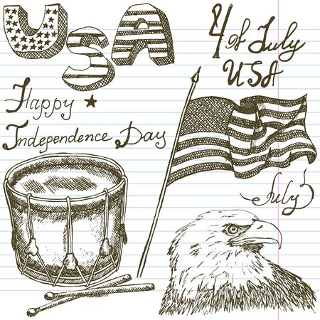 american bald eagle: Hand drawn sketch American bald eagle drum and usa flag, forth of july set, text happy independence day, paper notebook background.