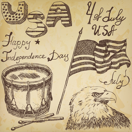 old paper background: Hand drawn sketch American bald eagle drum and usa flag, forth of july set, text happy independence day, on old paper background. Illustration