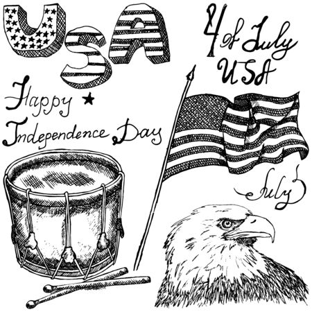forth: Hand drawn sketch American bald eagle drum and usa flag, forth of july set, text happy independence day, isolated on white.