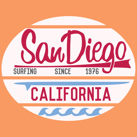 san diego: California San Diego typography, t-shirt Printing design, Summer vector Badge Applique Label.