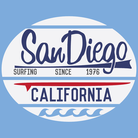 California San Diego typography, t-shirt Printing design, Summer vector Badge Applique Label.