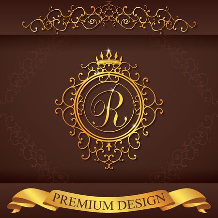 Letter R. Luxury Logo template flourishes calligraphic elegant ornament lines. Business sign, identity for Restaurant, Royalty, Boutique, Hotel, Heraldic, Jewelry, Fashion, vector illustration.