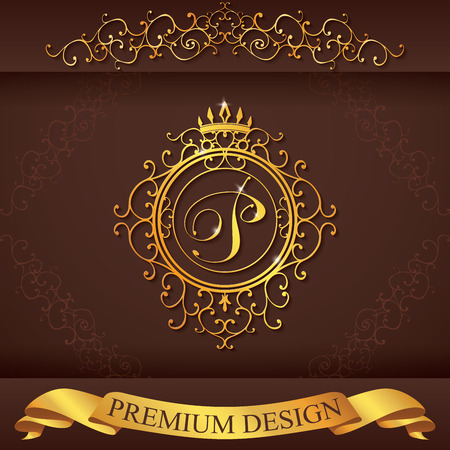 golden frame: Letter P. Luxury Logo template flourishes calligraphic elegant ornament lines. Business sign, identity for Restaurant, Royalty, Boutique, Hotel, Heraldic, Jewelry, Fashion, vector illustration. Illustration