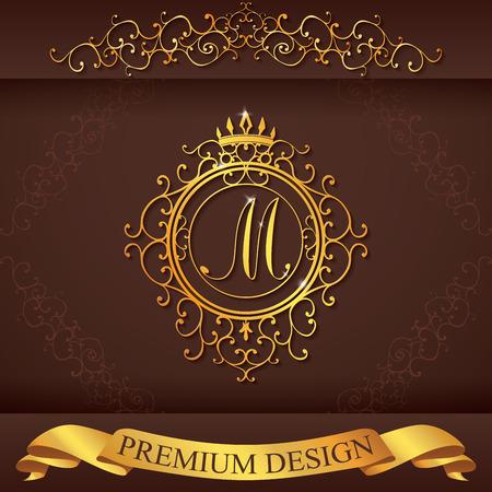 boutique hotel: Carta M. plantilla Logo Lujo florece caligr�ficas elegantes l�neas ornamento. R�tulo de establecimiento, la identidad de restaurante, Realeza, Boutique, Hotel, her�ldico, joyer�a, moda, ilustraci�n vectorial.