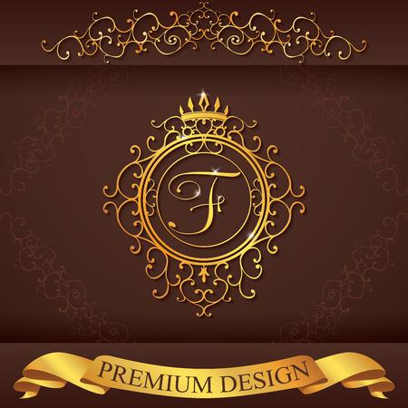boutique hotel: Carta F. plantilla Logo Lujo florece caligr�ficas elegantes l�neas ornamento. R�tulo de establecimiento, la identidad de restaurante, Realeza, Boutique, Hotel, her�ldico, joyer�a, moda, ilustraci�n vectorial.