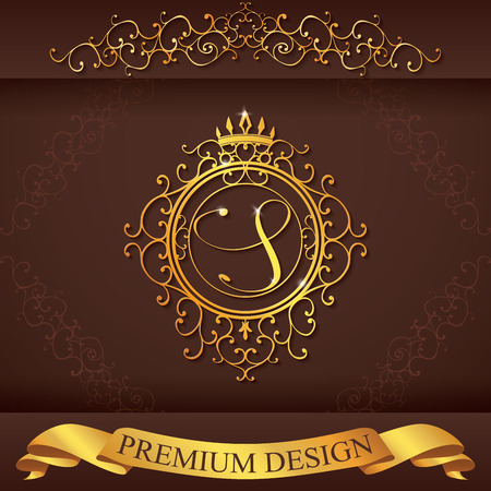 Letter S. Luxury Logo template flourishes calligraphic elegant ornament lines. Business sign, identity for Restaurant, Royalty, Boutique, Hotel, Heraldic, Jewelry, Fashion, vector illustration.