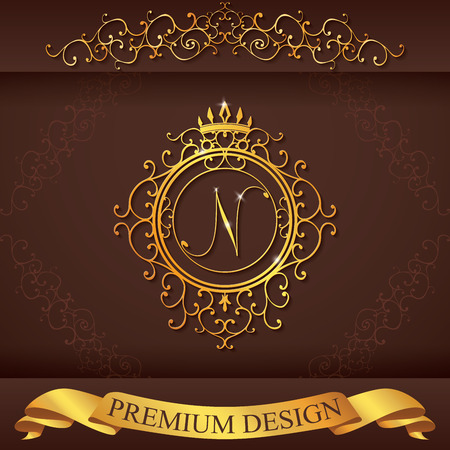 Letter N. Luxury Logo template flourishes calligraphic elegant ornament lines. Business sign, identity for Restaurant, Royalty, Boutique, Hotel, Heraldic, Jewelry, Fashion, vector illustration.  イラスト・ベクター素材