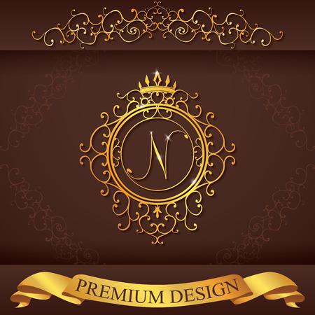 手紙 (名) 高級ロゴのテンプレートは活気づくカリグラフィのエレガントな飾り線です。ビジネス標識、レストラン、ロイヤリティ、ブティック、ホテル、ヘラルディック、ジュエリー、ファッション、ベクトル図の id です。 写真素材 - 41048753