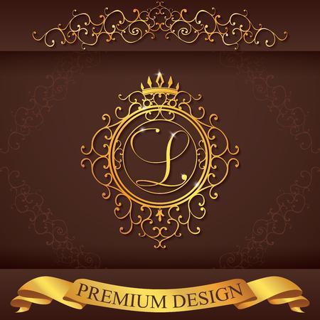 boutique hotel: Plantilla Carta L. Logo Lujo florece caligr�ficas elegantes l�neas ornamento. R�tulo de establecimiento, la identidad de restaurante, Realeza, Boutique, Hotel, her�ldico, joyer�a, moda, ilustraci�n vectorial.