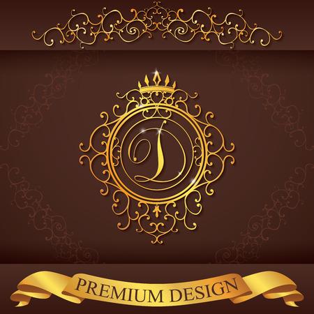 boutique hotel: Plantilla Carta D. Logo Lujo florece caligr�ficas elegantes l�neas ornamento. R�tulo de establecimiento, la identidad de restaurante, Realeza, Boutique, Hotel, her�ldico, joyer�a, moda, ilustraci�n vectorial. Vectores